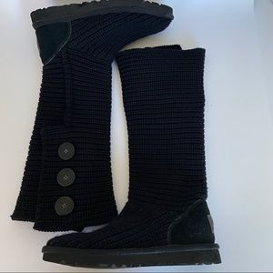 UGG Black Woven Tall Boots Size 5